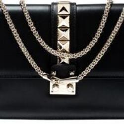 Valentino Black Leather Large Glam Lock Chain Shoulder Bag