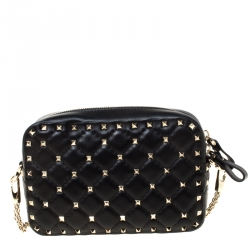 Valentino Black Quilted Leather Rockstud Spike Crossbody Bag