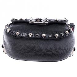 Valentino Black Leather Guitar Rockstud Rolling Belt Bag