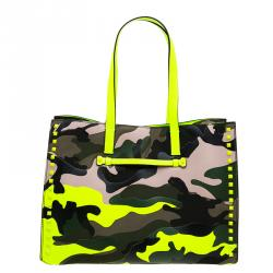 Valentino Green Camouflage Leather Canvas Limited Edition Rock Stud Tote