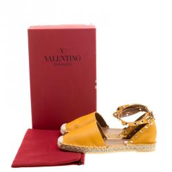 Valentino Tan Leather Rockstud Espadrilles Size 38