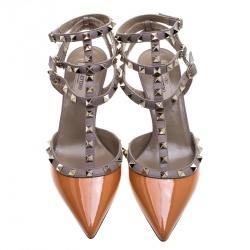 Valentino Beige and Orange Patent Leather Rockstud Sandals Size 38.5