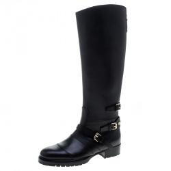 Valentino Black Leather Rockstud Strap Knee Length Biker Boots Size 37