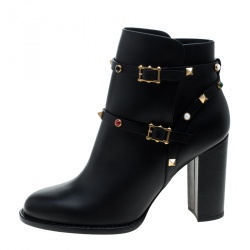 Valentino Black Leather Rolling Rockstud Ankle Boots Size 40