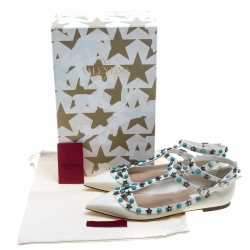 Valentino White Patent Leather Star Rolling Rockstud Cage Flats Size 38