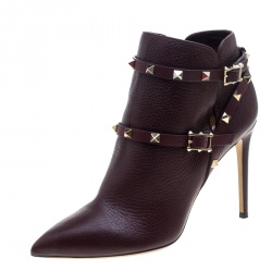 Valentino Burgundy Leather Rockstud Pointed Toe Ankle Boots Size 40