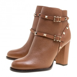 Valentino Brown Leather Rockstud Block Heel Ankle Boots Size 39