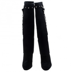 Valentino Black Suede Rockstud Tie Foldover Knee Length Boots Size 38