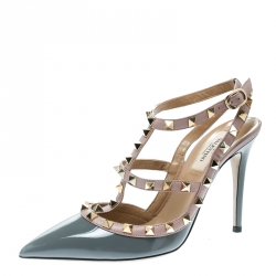 fbb2e49baeaf Valentino Grey and Beige Patent Leather Rockstud Ankle Strap Sandals Size 38