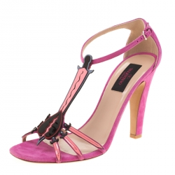 b206ba175642 Valentino Pink Suede And Leather Love Blade T Strap Sandals Size 38