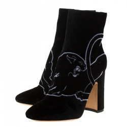 Valentino Black Velvet Panther Motif Block Heel Ankle Boots Size 39.5