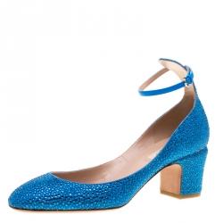 6c04350c57c Valentino Blue Crystal Embellished Suede Block Heel Ankle Strap Pumps Size  38.5