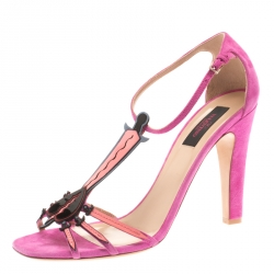 cb96ac83b675 Valentino Pink Suede And Leather Love Blade T Strap Sandals Size 36