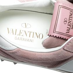 Valentino Loto/Bianco Suede and Leather Flycrew Lace Up Sneakers Size 38.5