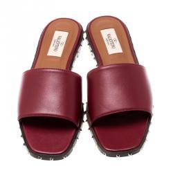 Valentino Rubino/Noce Scuro Leather Soul Rockstud Flat Slides Size 41