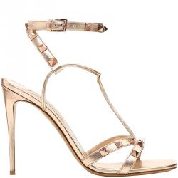 Valentino Rame/Rame Leather Free Rockstud Ankle Wrap Sandals Size 39