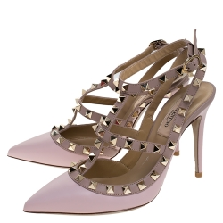Valentino Light Pink Leather Rockstud Pointed Toe Sandals Size 36