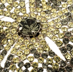 Valentino Floral Yellow Crystal Silver Tone Pin Brooch