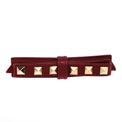 Valentino Rockstud Red Leather Gold Tone Bow Barrette Hair Clip