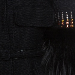 Valentino Black Knit Embellished Faux Fur Cuffed Belted Cropped Jacket M