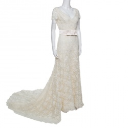 7119edf83826a Valentino Sposa Cream Floral Beaded Lace Hesperides Sheath Wedding Gown M