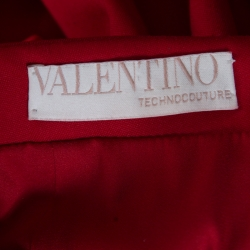 Valentino Technocouture Lipstick Red Fleece Wool Pencil Skirt S