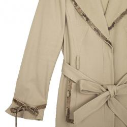 Valentino Trench Coat with Python Trimming L