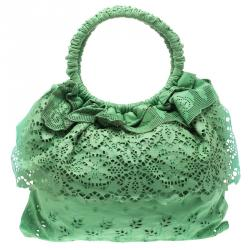 Valentino Light Green Laser Cut Leather Laceland Hobo