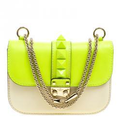 Valentino Neon Green/Light Beige Leather Small Rockstud Glam Lock Shoulder Bag