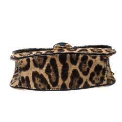 Valentino Brown Leopard Print Calf hair Rockstud Small Glam Lock Shoulder Bag