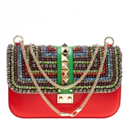 2e0ba4b4b Valentino Multicolor Leather Medium Rockstud Crystal Embellished Glam Lock  Flap Bag