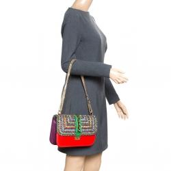 33fe2825390a5 Valentino Multicolor Leather Medium Rockstud Crystal Embellished Glam Lock  Flap Bag