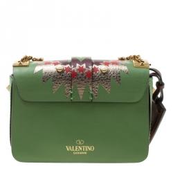 Valentino Green/Multicolor Print Leather Micro B Rockstud Shoulder Bag