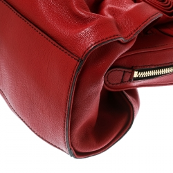 Valentino Red Leather Lacca Fleur Frame Satchel