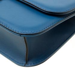 Valentino Blue Leather Rockstud Medium Glam Lock Flap Bag
