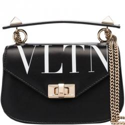 Valentino Black Leather VLTN Crossbody Bag
