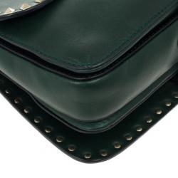 Valentino Green Studded Shoulder Bag