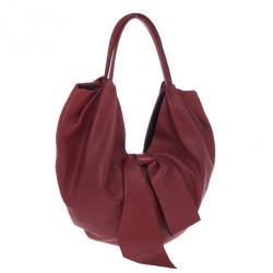 Valentino Garavani Red Nappa Leather Folie Bow Hobo Bag