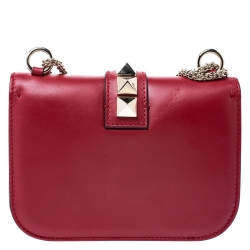 Valentino Red Leather Small Rockstud Glam Lock Flap Bag
