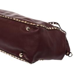 Valentino Burgundy Leather Medium Rockstud Tote