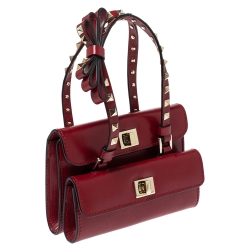 Valentino Red Leather Mini Rockstud Double Flap Bag