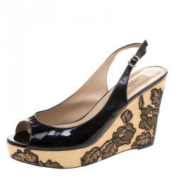 Valentino Black Patent Leather Lace Embellished Wedge Peep Toe Sandals Size 39