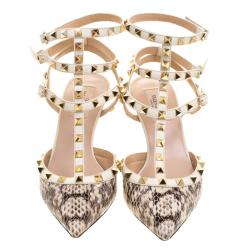 Valentino Two Tone Python Leather Rockstud Sandals Size 39