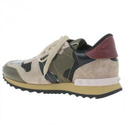 Valentino Camouflage Leather and Suede Sneakers Size 37.5