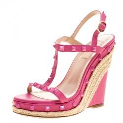 5af188a3603 Valentino Pink Leather Rockstud T Strap Espadrille Wedges Size 38