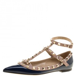 7f17f1f51ca Valentino Blue Patent Leather T Strap Rockstud Pointed Toe Ballet Flats  Size 35