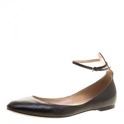 Valentino Black Leather Tango Ankle Strap Ballet Flats Size 38.5 6ff32e3cb