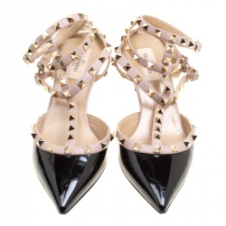Valentino Black and Beige Patent Leather Rockstud Ankle Strap Sandals Size 39.5