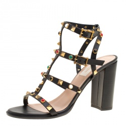 24c2bc445 Valentino Black Leather Rolling Rockstud Cabochon Gladiator Sandals Size 38