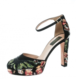 62cfc26591b1 Valentino Black Camubutterfly Embroidered Suede Ankle Strap Platform Pumps  Size 39